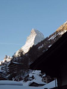 The matterhorn from the balcony of Hotel Schweizerhof Zermatt view of Matterhorn