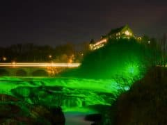The Rhine Falls Turn Green For St Patrick's Day