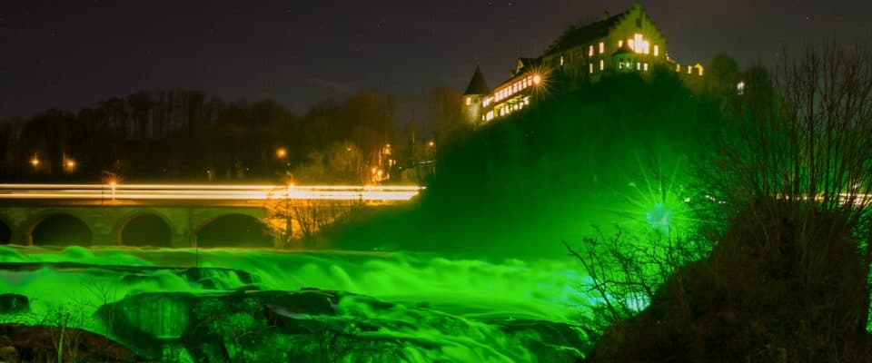 The Rhine Falls Turns Green For St Patrick's Day