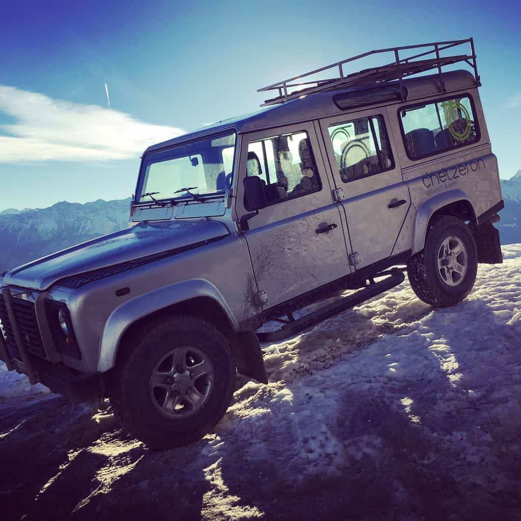 Landrover defender at Hotel Chetzeron Crans Montana