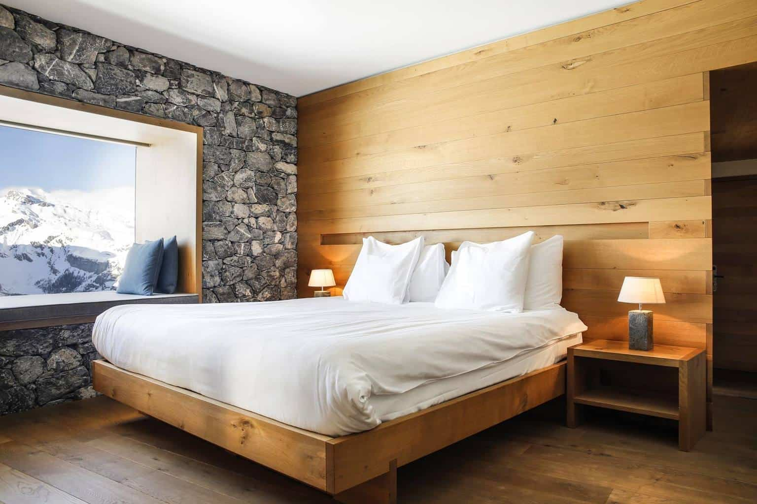 The bedrooms at The Hotel Chetzeron Crans Montana