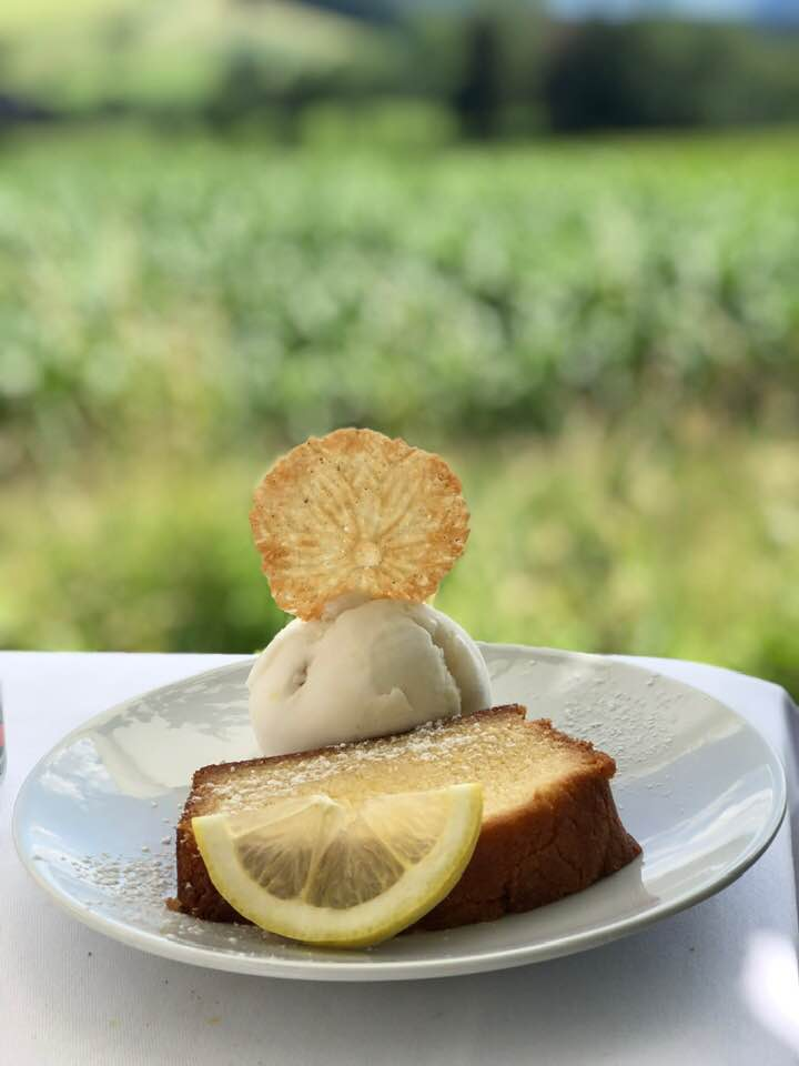 Lemon cake and lemon Sorbet at Albishaus near Zurich