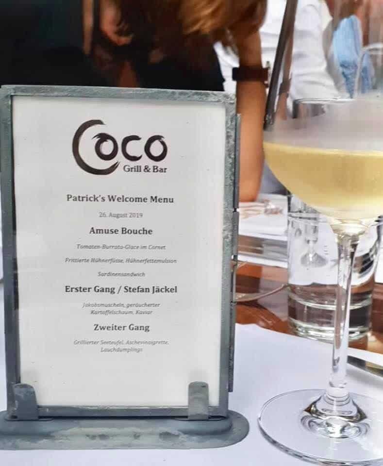 Patrick Frischknecht dinner at Coco Grill & Bar Zurich