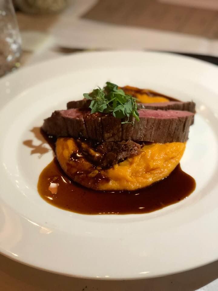 Secret Dinner Zurich beef and sweet potato mash