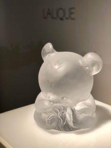 Lalique crystal panda sculptures by Han Meilin