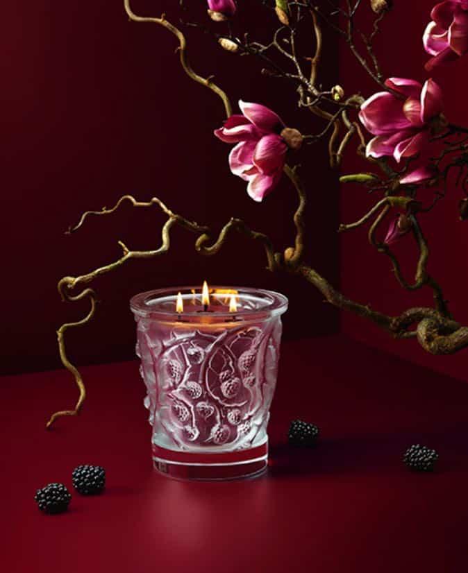 "Lalique ""Épines"" crystal candle"