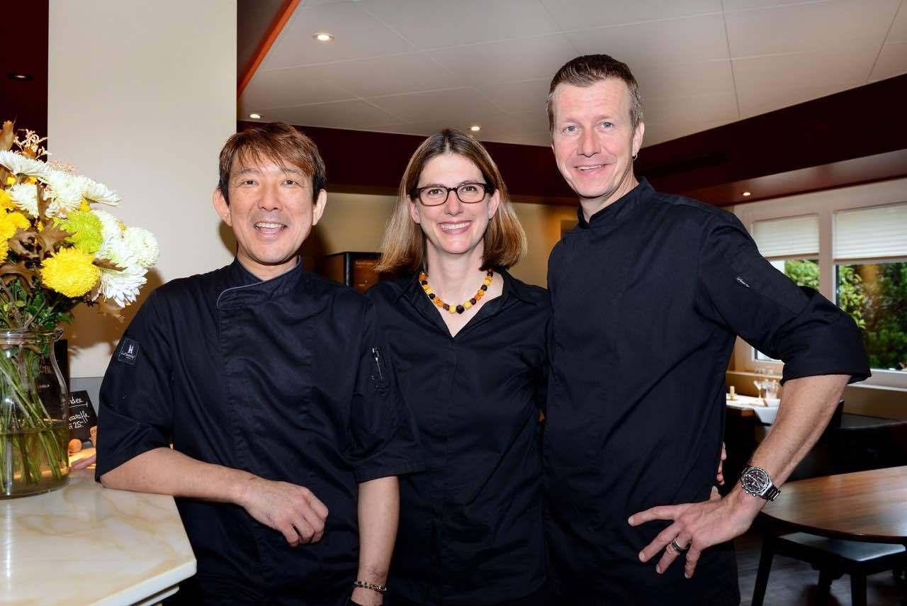 Andy and Sandra Tobler-Wismer & chef Ken Nakano