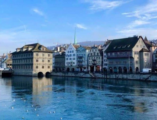 Zurich Parliament Building on the Limmat