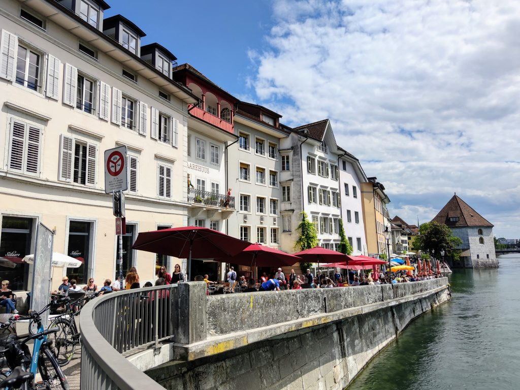 Cafes on Banks of the River Aare Solothurn