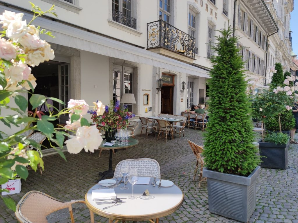 The terrace at Hotel La Couronne in Solothurn
