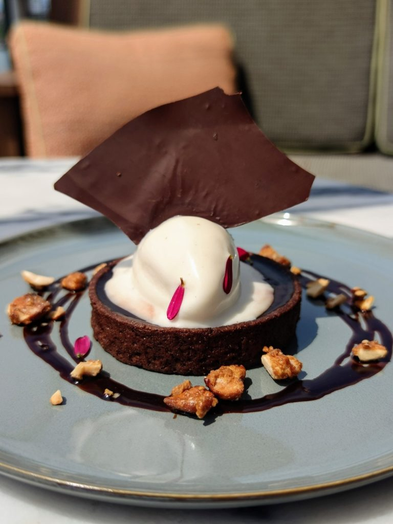 chocolate and ginger tart with tonic bean ice cream