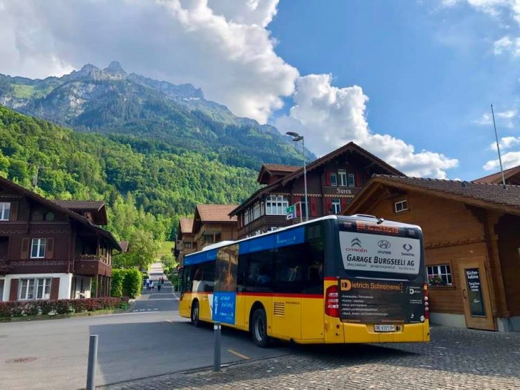 Bus station Isetwald Lake Brienz