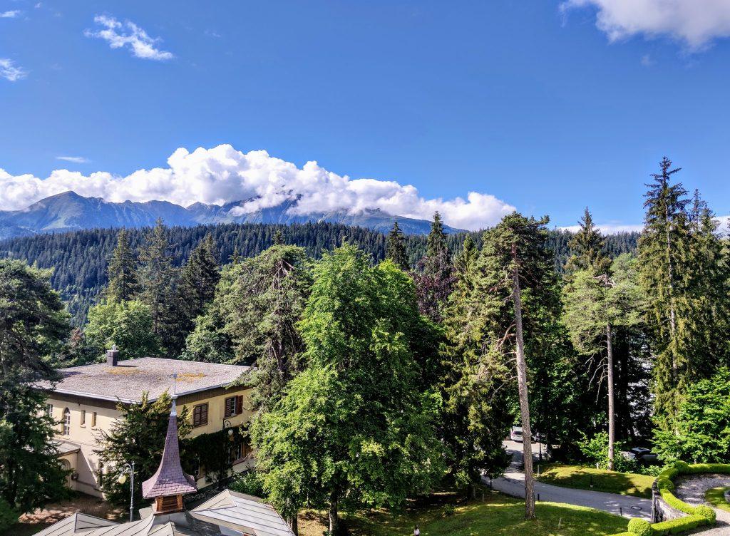 Bedroom balcony view Waldhaus Flims wellness resort