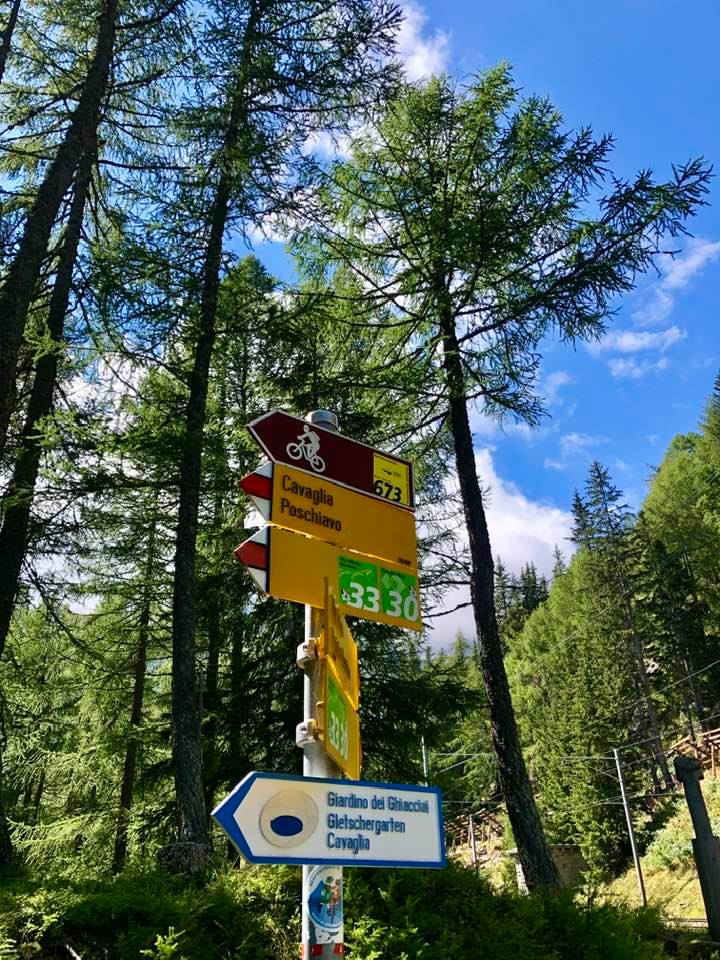 Hiking to Cavaglia stop on Bernina Express