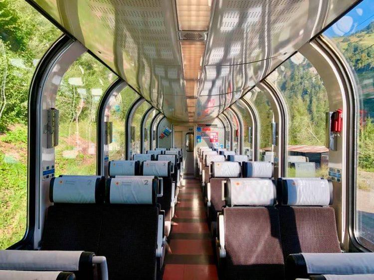 Panoramic windows on Bernina Express