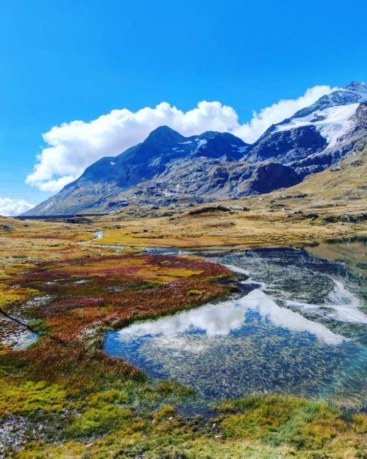 Swiss Lake Lago Bianco on Bernina Express Journey