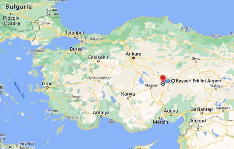 Google Maps Kayseri Airport to Museum Hotel Cappadocia
