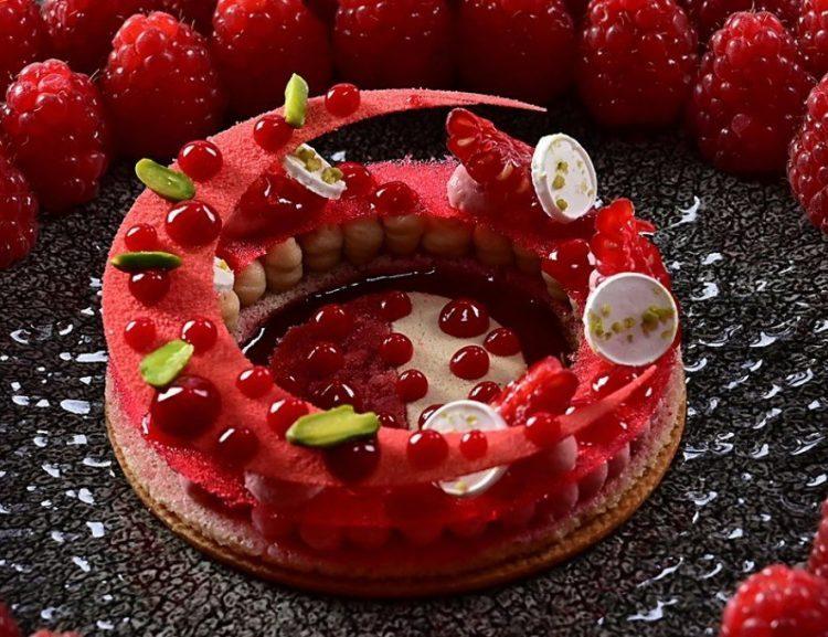 Raspberry dessert at Maison Wenger Le Noirmont