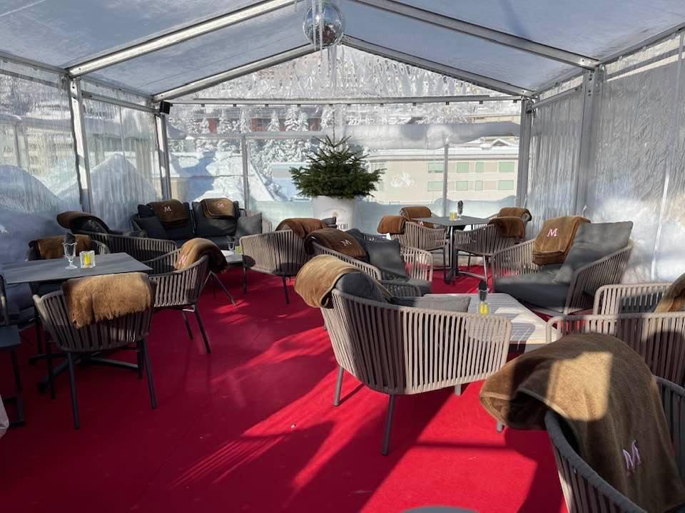 Pop up tent on Sky bar at Hotel Monopol St Moritz