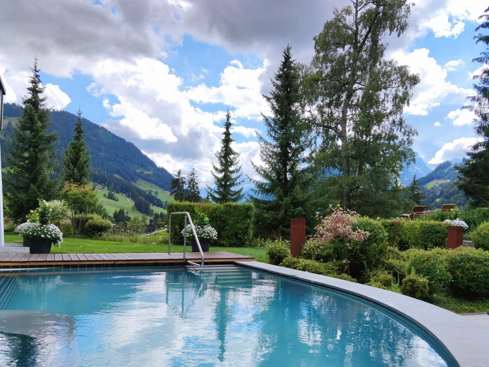 Swimming pool at Gstaad Palace hotel Gstaad