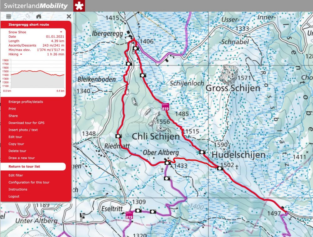 Short route Snowshoeing Ibergeregg