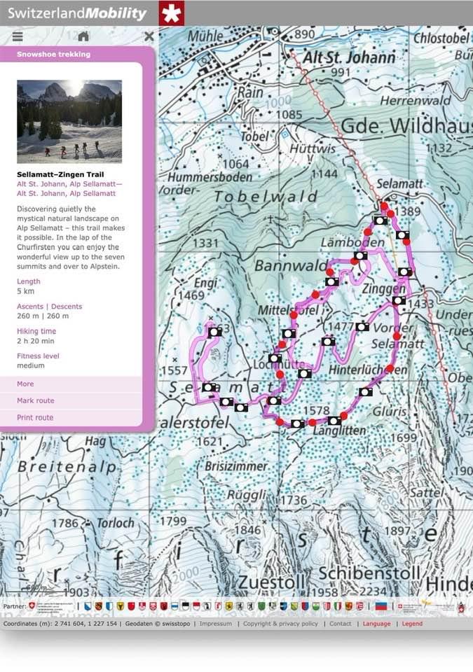 Map: The Alp Sellamatt Snowshoe Trail - Not Far From Zurich
