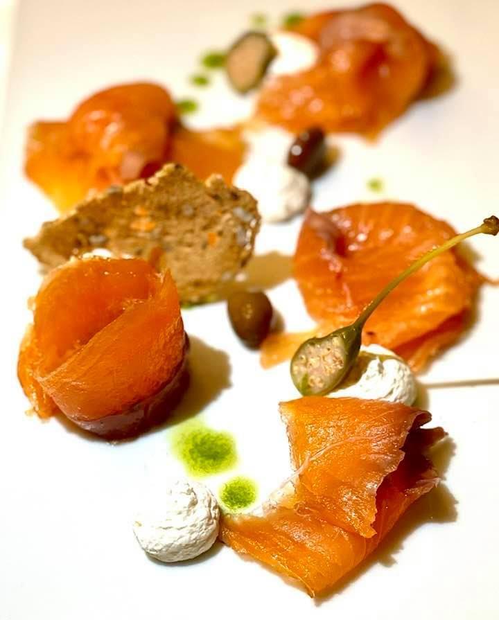 Delicious smoked salmon at Kurhaus Cademario Ticino
