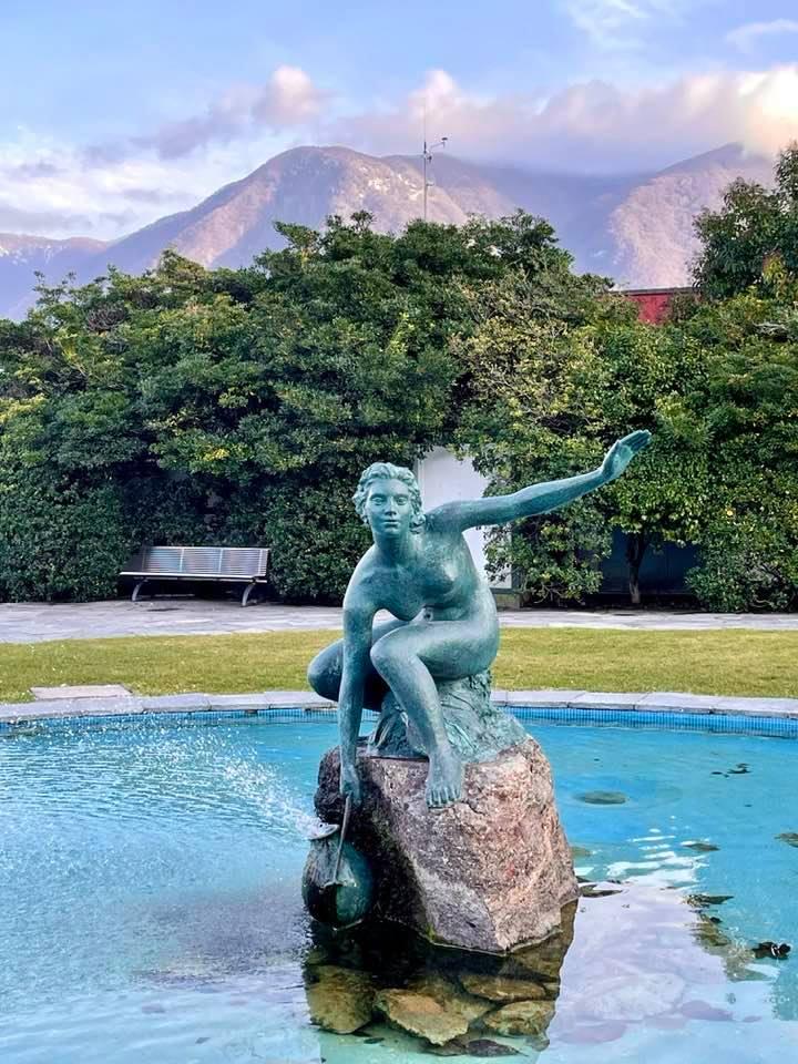 Statue by Lake Lugano Ticino