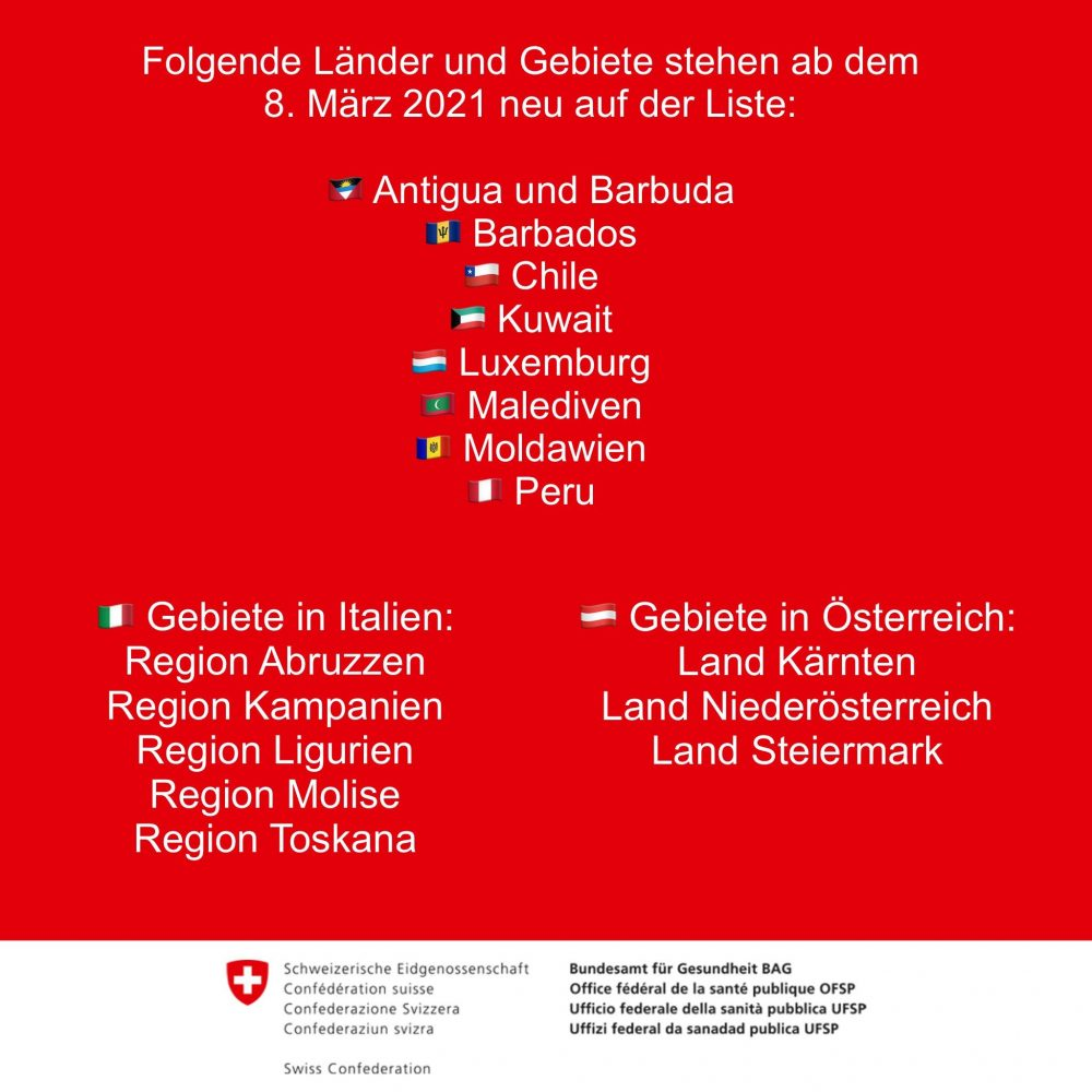 Covid Quarantine countries Switzerland