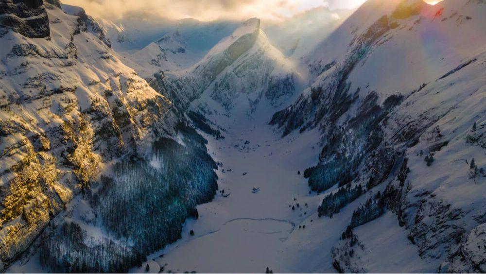 The Beautiful Swiss Alpine Lake of Seealpsee in The Snow
