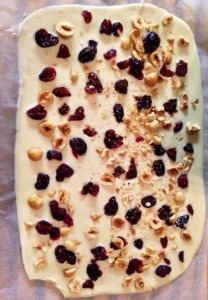 White Chocolate Bark with Cranberries and nuts