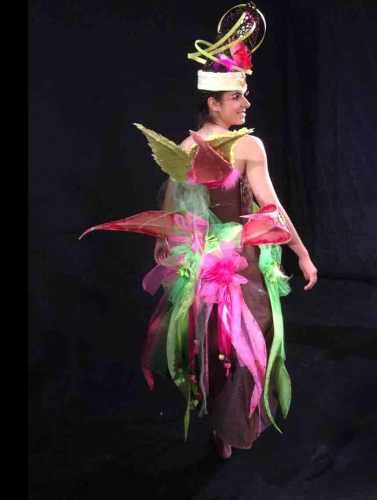Leila Becic modelling winning chocolate dress at Salon du Chocolat